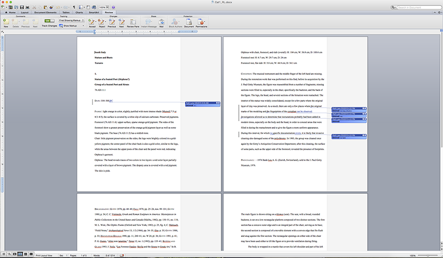Screen capture of Microsoft Word file showing a catalogue entry for Ancient Terracottas