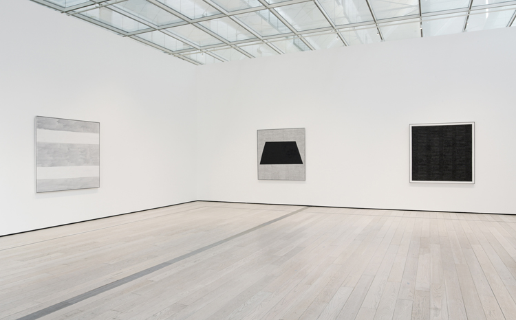 Installation view of Agnes Martin exhibit at LACMA. Copyright Agnes Martin/Artists Rights Society and Museum Associates/LACMA
