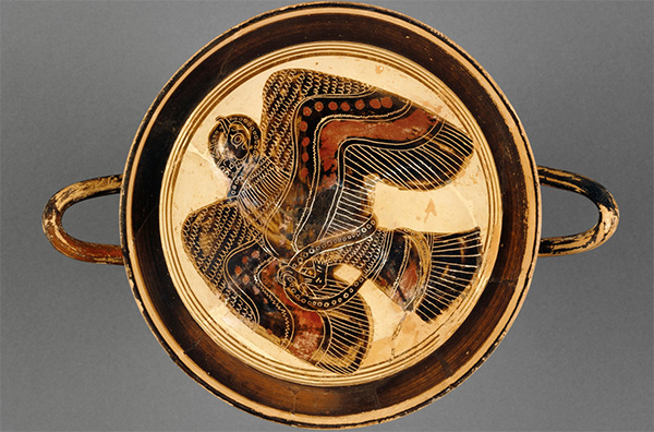 Lakonian Black-Figure Kylix, about 530 B.C., Attributed to the Hunt Painter. Greek. Terracotta. 5 1/8 x 7 11/16 inches. The J. Paul Getty Museum. 87.AE.31