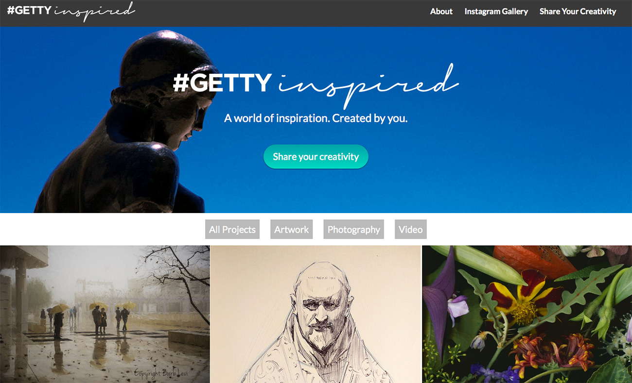 #GettyInspired home page