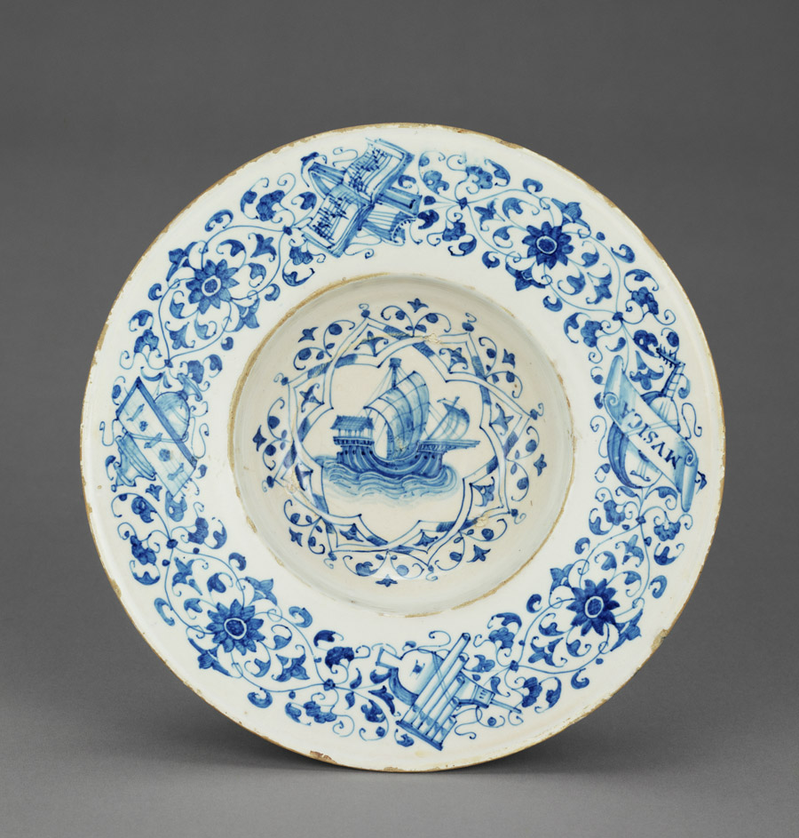 Blue and White Dish with a Merchant Ship