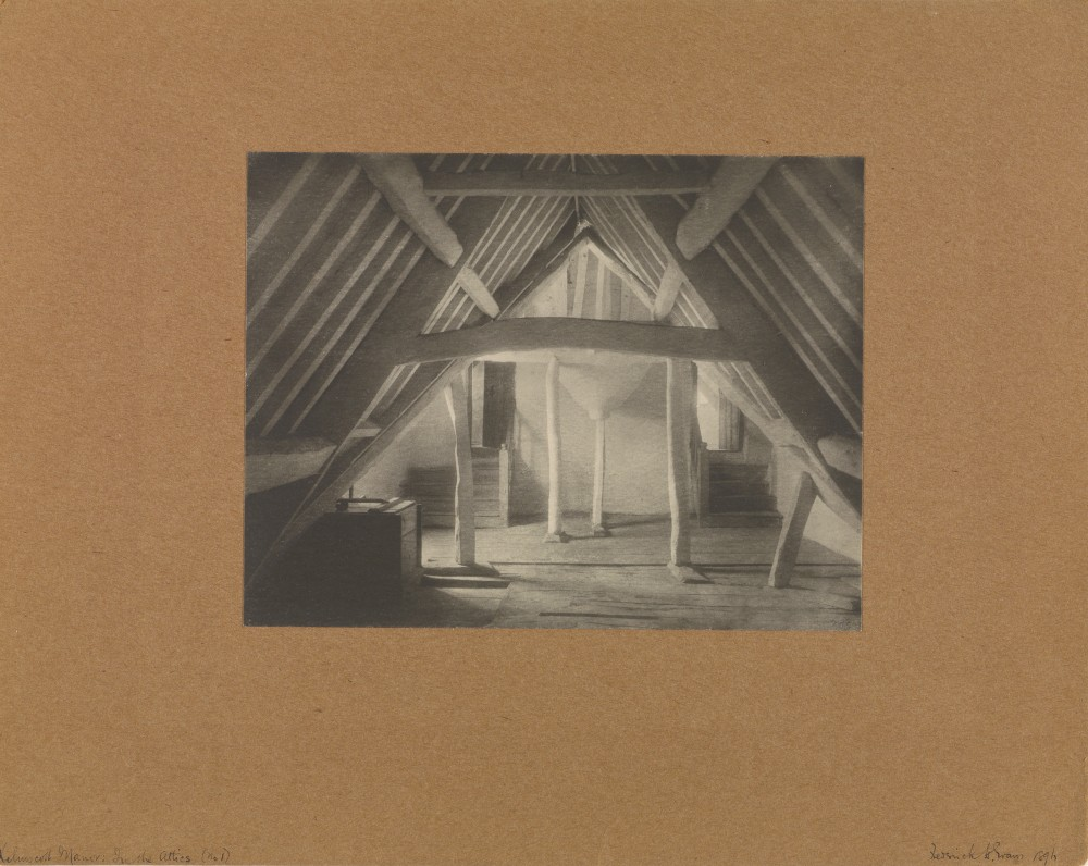 Kelmscott Manor: In the Attics (No. 1) / Frederick H. Evans . Platinum print. 6 1/8 x 7 15/16 in. 84.XM.444.89. The J. Paul Getty Museum, Los Angeles