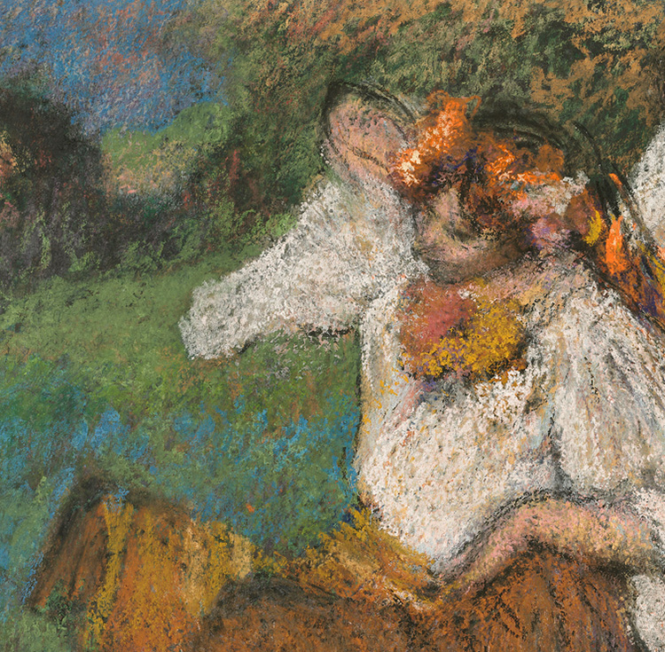 Detail of Russian Dancers showing Degas's colorful, richly layered pastels