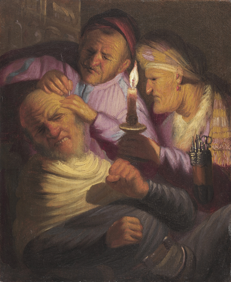 The Stone Operation (Allegory of Touch), about 1624–25, Rembrandt van Rijn. Oil on panel, 8 1/2 × 7 in. Image courtesy of The Leiden Collection, New York
