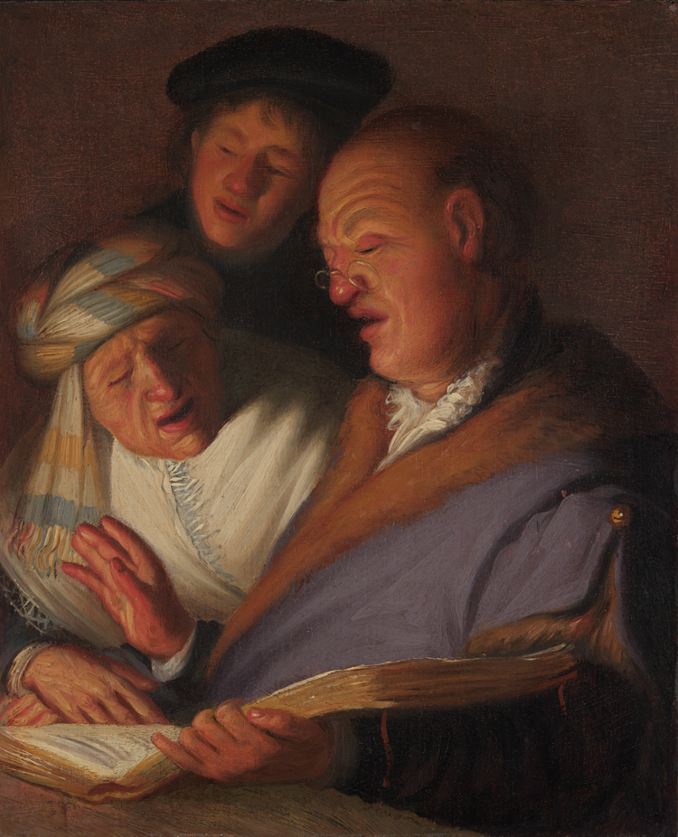 The Three Musicians (An Allegory of Hearing), about 1624–25, Rembrandt van Rijn. Oil on panel, 8 1/2 × 7 in. Image courtesy of The Leiden Collection, New York