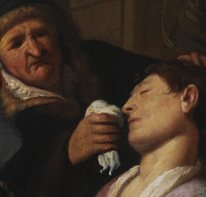 The Unconscious Patient (Allegory of the Sense of Smell) (detail), about 1624–25, Rembrandt van Rijn. Oil on panel, 8 1/2 × 7 in.; with later additions, 12 1/2 × 10 in. Image courtesy of The Leiden Collection, New York