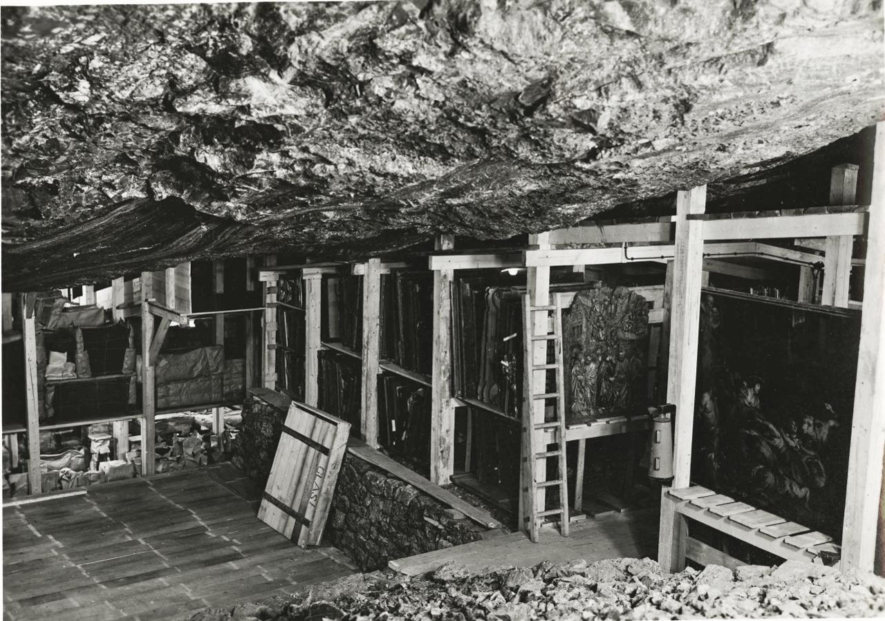 Altaussee, Austria, May 1945: One of the many mine chambers in which the Nazis constructed wooden shelves to house stolen works of art