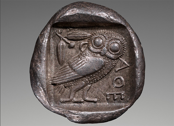 Silver coin (tetradrachm) of Athens, about 460-455 B.C., Unknown. Greek. Silver. 1 inch, 0.0379 lb. The J. Paul Getty Museum. 2015.5.