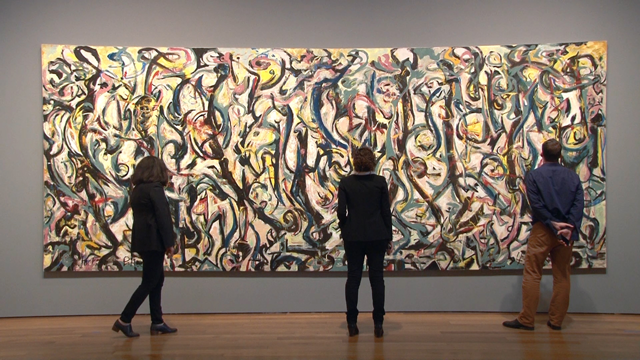 Video exploring conserving jackson pollock s mural for A mural is painted on a