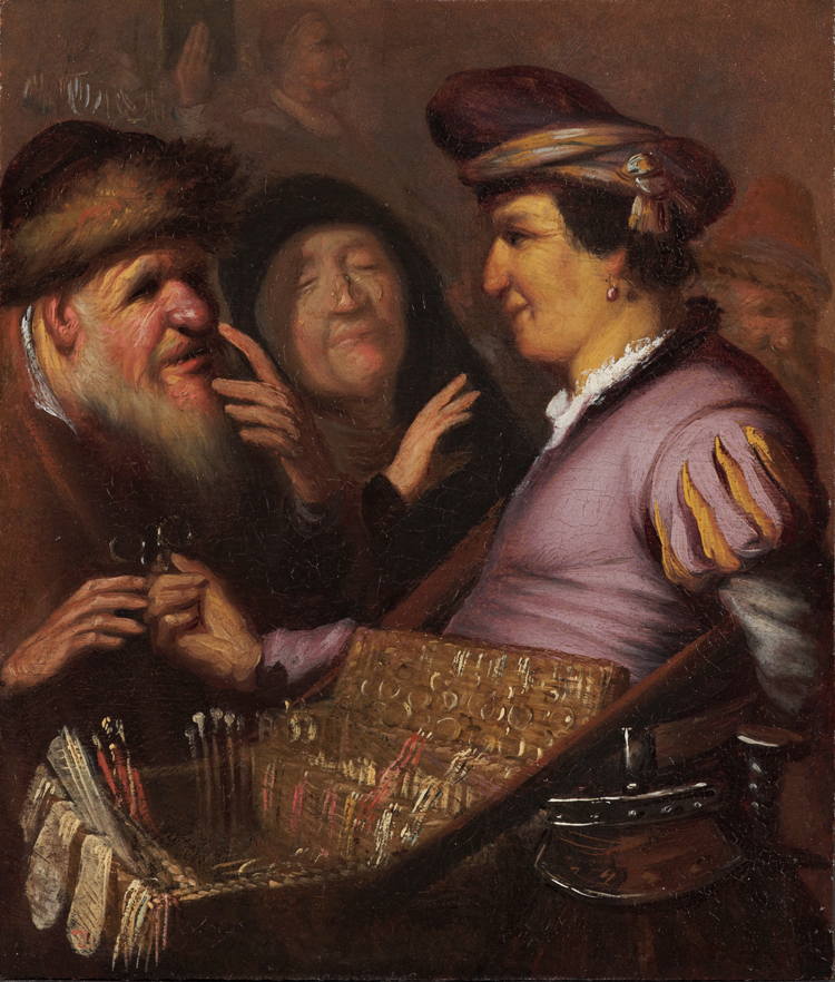The Spectacle Peddler (Allegory of Sight), about 1624–25, Rembrandt van Rijn. Oil on panel, 8 1/2 × 7 in. Museum De Lakenhal, Leiden. Image: Wikimedia Commons