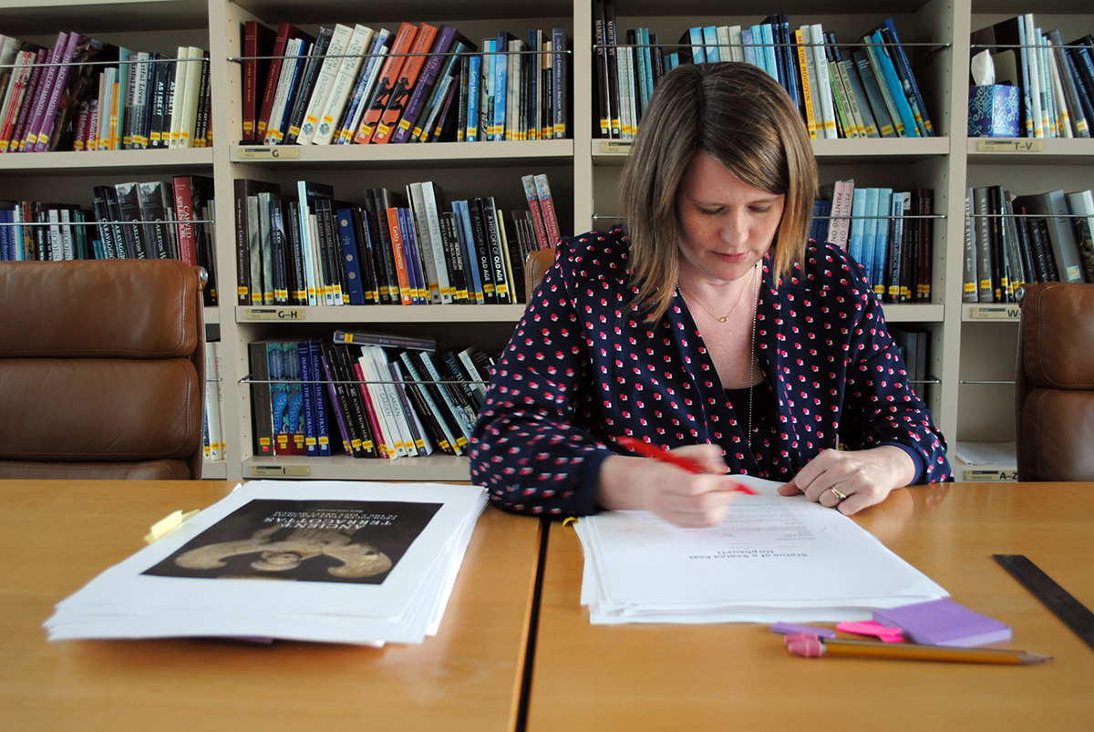 Ruth Lane, Getty Publications editor, working on PDFs of Ancient Terracottas