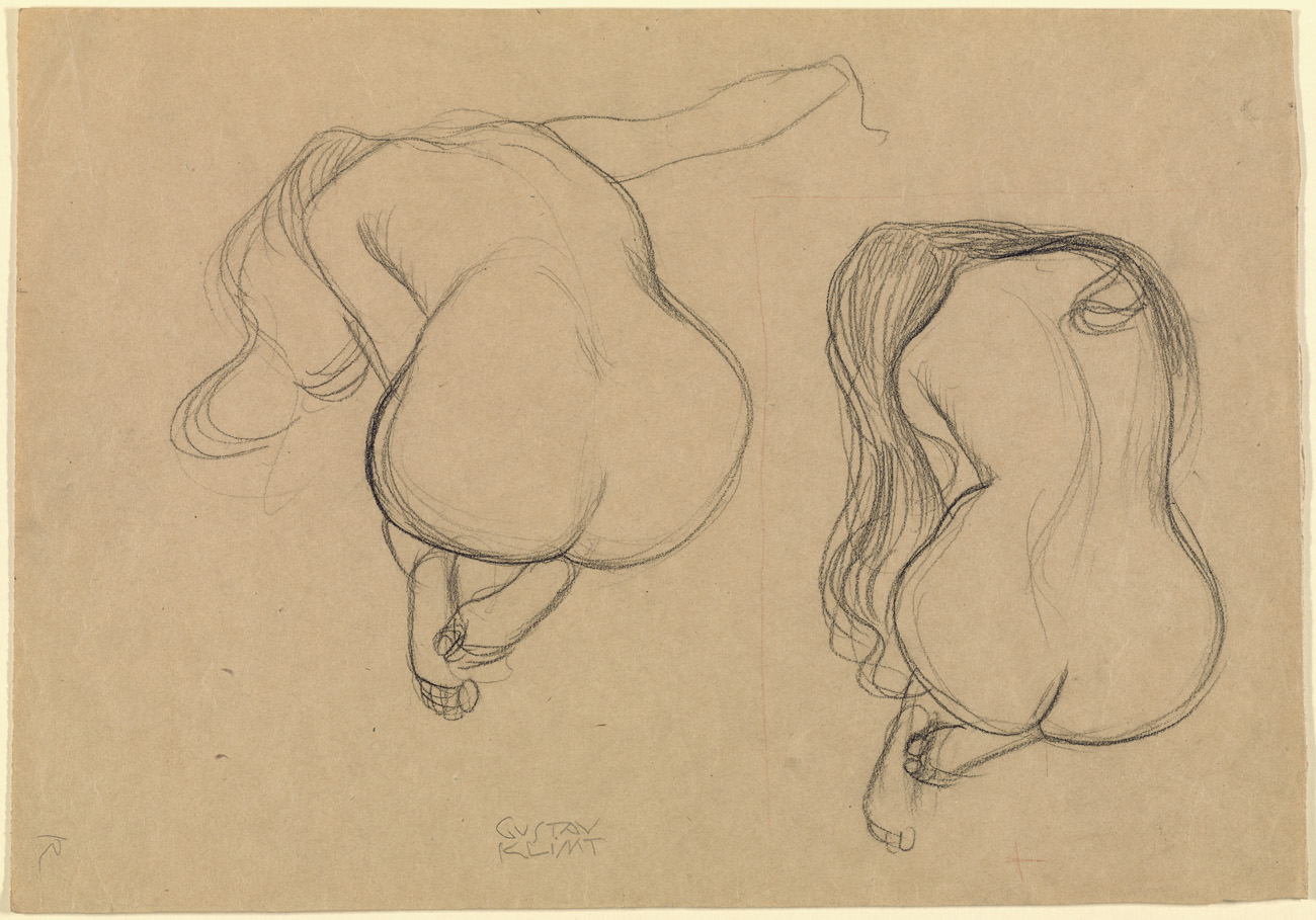 Two Studies of a Seated Nude with Long Hair, about 1901–02, Gustav Klimt. Black chalk and red pencil, 12 1/2 x 17 13/16 in. The J. Paul Getty Museum, 2009.57.2. Image courtesy of the Getty's Open Content Program