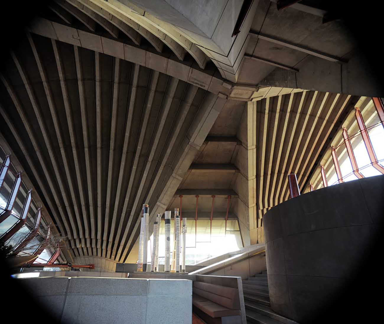 Interior of Bennelong Restaurant in the Sydney Opera House showing the structure's precast concrete ribs.