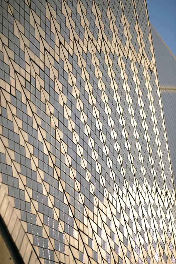 Detail of the shell tiles covering the sails of the Sydney Opera House.