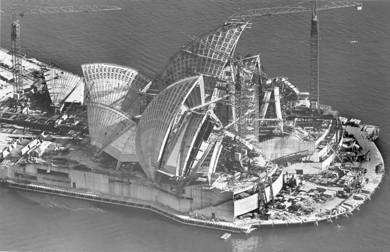 Aerial view of the construction of the Sydney Opera House, circa 1966.
