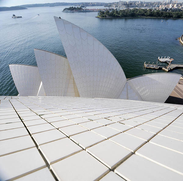 A rooftop view of the Sydney Opera House sails.