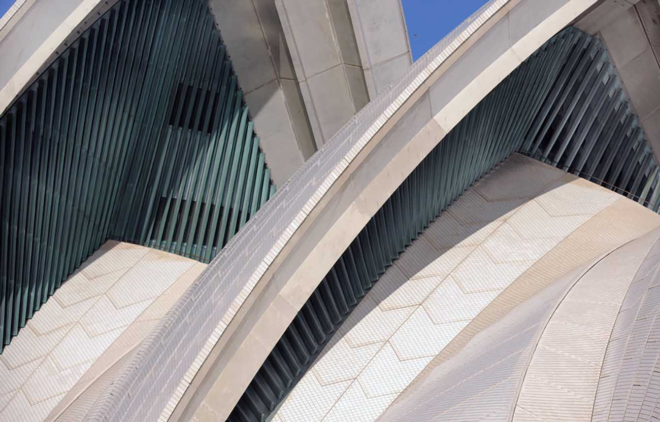 Detail of the sails of the Sydney Opera House.