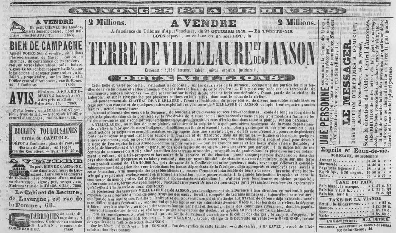 Newspaper clipping of the Forbin-Janson estate auction, October 1, 1848.