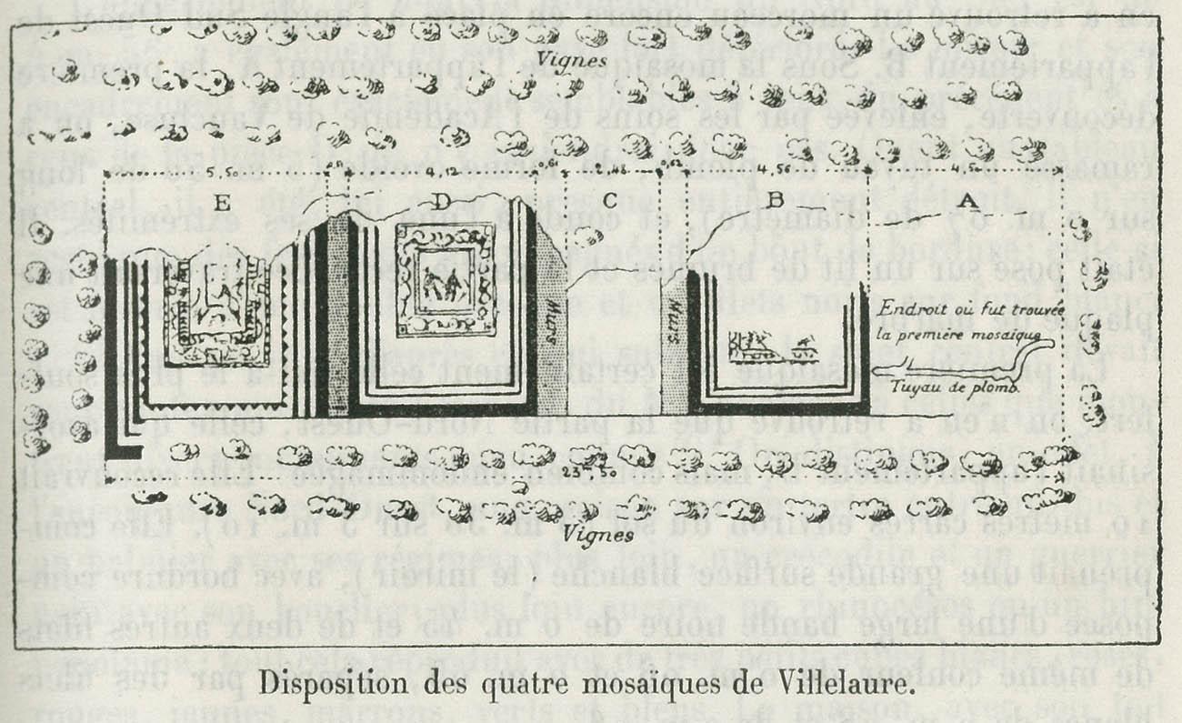 """Plan of the mosaics excavation (1903) by Henri Nodet. Originally published in H. Labande and Villefosse, """"Les mosaïques romaines de Villelaure,"""" Bulletin Archéologique du Comite des Travaux historiques et scientifiques, p. 5."""