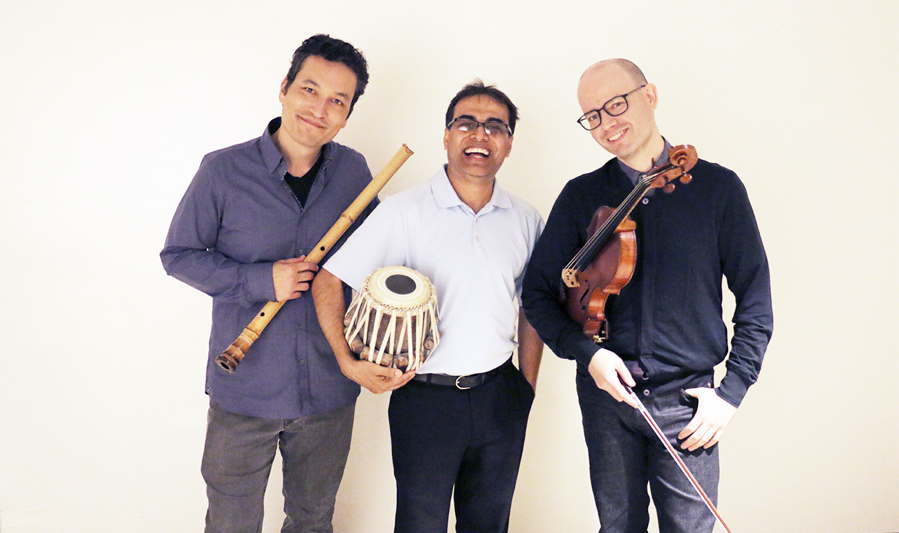 Kojiro Umezaki (shakuhachi), Sandeep Das (tabla), Nicholas Cords (viola)