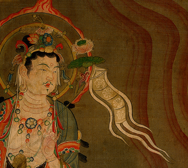 Detail of Guiding (or Yinlu) Bodhisattva showing the bodhisattva carrying a devotional banner