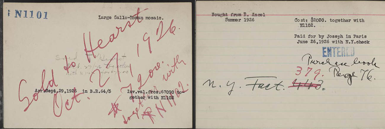 Brummer Gallery catalog card (left to right: front and back) for pair of mosaics purchased from R. Ancel for $2,030 on June 26, 1926, in Paris.