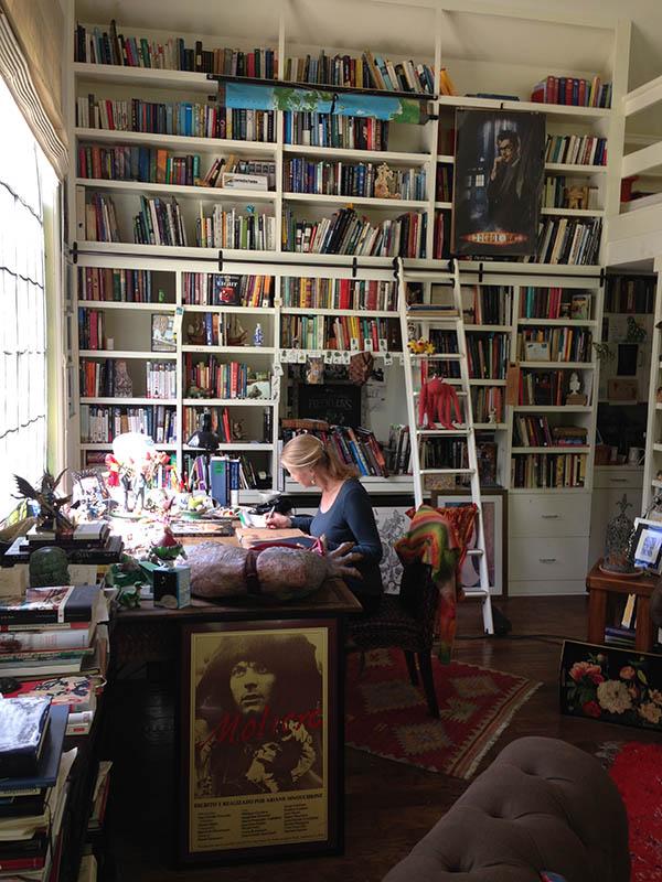"Children's author Cornelia Funke at work in her studio, ""The Writing House"""