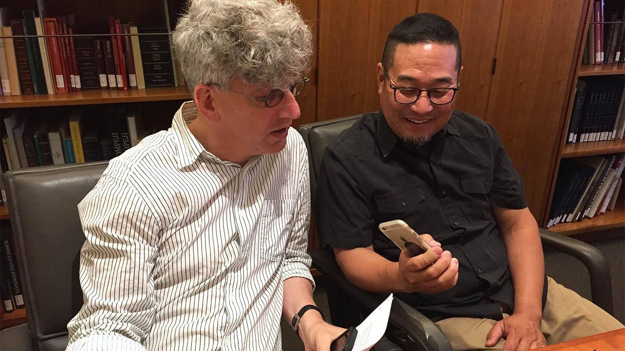 Sound artist Alan Nakagawa interviews Getty Museum curator and archaeologist Kenneth Lapatin.