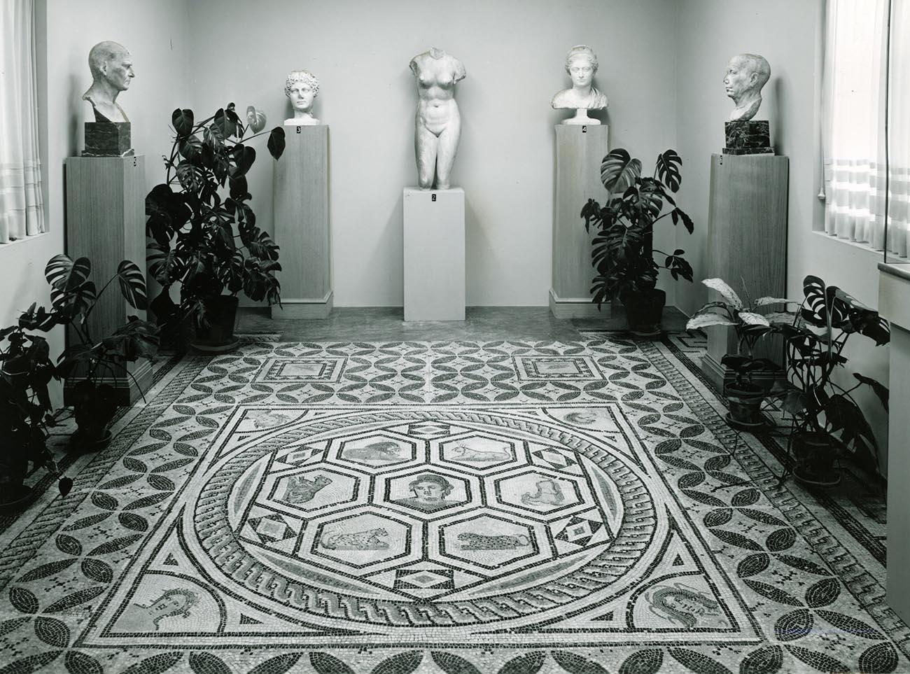 "The Orpheus mosaic installed in the Ranch House's ""Roman Room"" (1950)."