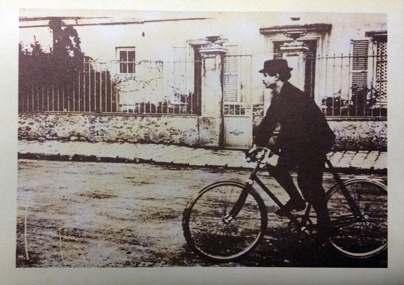 Alfred Jarry riding his Clement Luxe, 1898, one of a set of postcards created by a member of the Collège de 'Pataphysique. Getty Research Institute, 2011.M.30