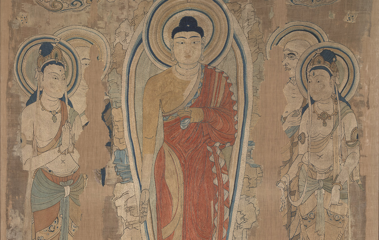 Fanhe Buddha embroidered on silk, found in the Mogao Grottoes