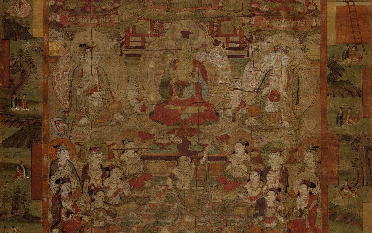 Buddha and desciples painted on silk, found in the Mogao Grottoes