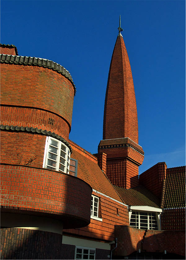 Detail of Het Schip exterior, featuring its famous tower.