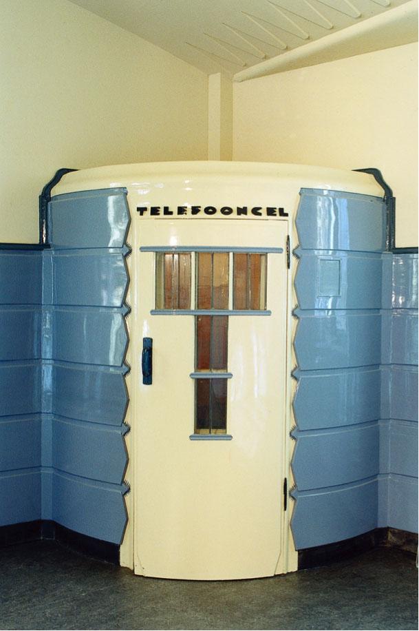 Telephone booth in Het Schip's former post office.