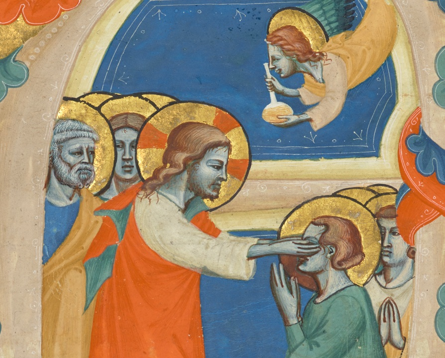 Initial A: Christ Wiping the Tears from the Eyes of the Saved (detail), attributed to the Master of the Antiphonary of San Giovanni Fuorcivitas, about 1345–50. Tempera colors and gold leaf on parchment, 5 1/3 x 5 1/3 in (13.5 x 13.5 cm). The J. Paul Getty Museum, Ms. 113, recto