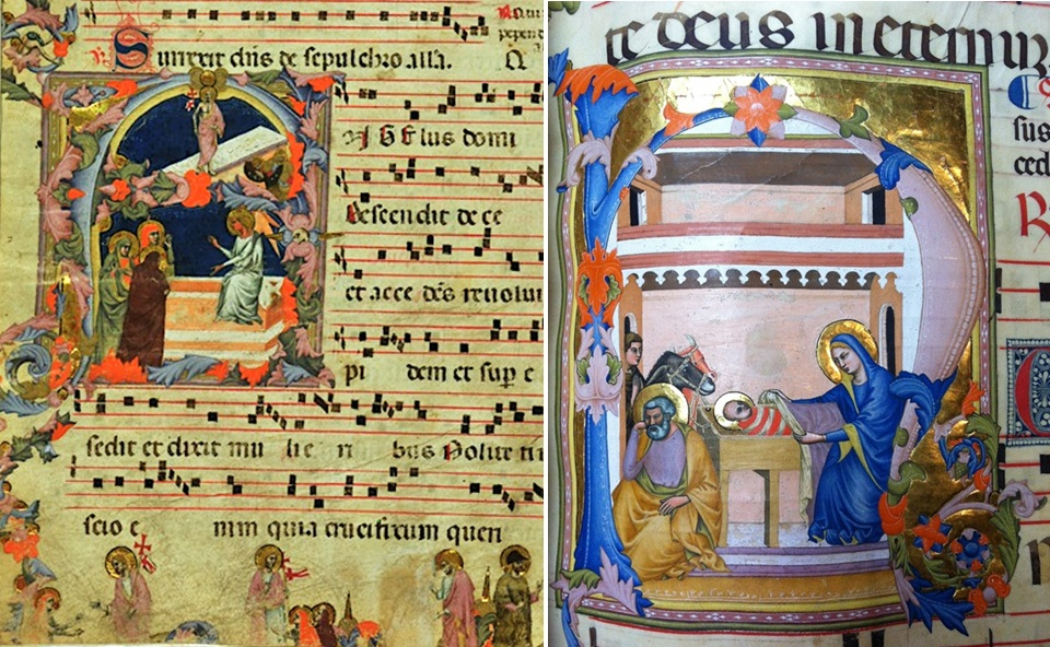 Initial A: The Resurrection, about 1335. Pistoia, Archivio Capitolare, s.s., a, inv. 488/100, fol. 1v; Initial H: The Nativity (detail), about 1335-40. Tempera colors and gold leaf on parchment, 52 x 37 cm (20 ½ x 14 9/16 in.). Impruneta, Museo del Tesoro di Santa Maria dell'Impruneta, Cod. VII, fol. 108.
