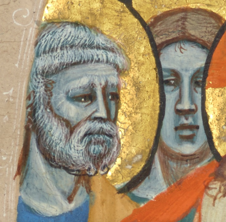 Initial A: Christ Wiping the Tears from the Eyes of the Saved (detail), attributed to the Master of the Antiphonary of San Giovanni Fuorcivitas, about 1345–50. Tempera colors and gold leaf on parchment, 5 1/3 x 5 1/3 in (13.5 x 13.5 cm). The J. Paul Getty Museum, Ms. 113, recto.