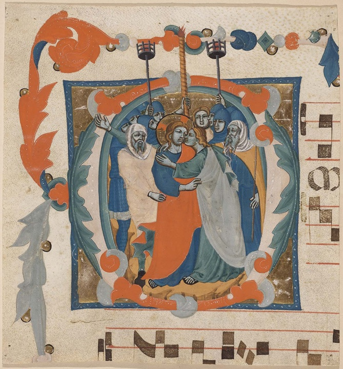 Initial O: The Betrayal of Christ, attributed to the Master of the Antiphonary of San Giovanni Fuorcivitas, about 1345-50. Tempera colors and gold leaf on parchment, 22 x 20.7 cm (8 11/16 x 8 1/8 in.). (Boston, Museum of Fine Arts, 1917.91.