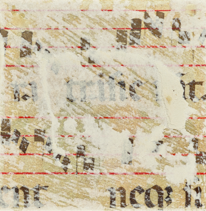 Partial chant and musical staves (with fragments of a previous paper support), about 1345–50. Tempera colors and gold leaf on parchment, 5 1/3 x 5 1/3 in (13.5 x 13.5 cm). The J. Paul Getty Museum, Ms. 113, verso