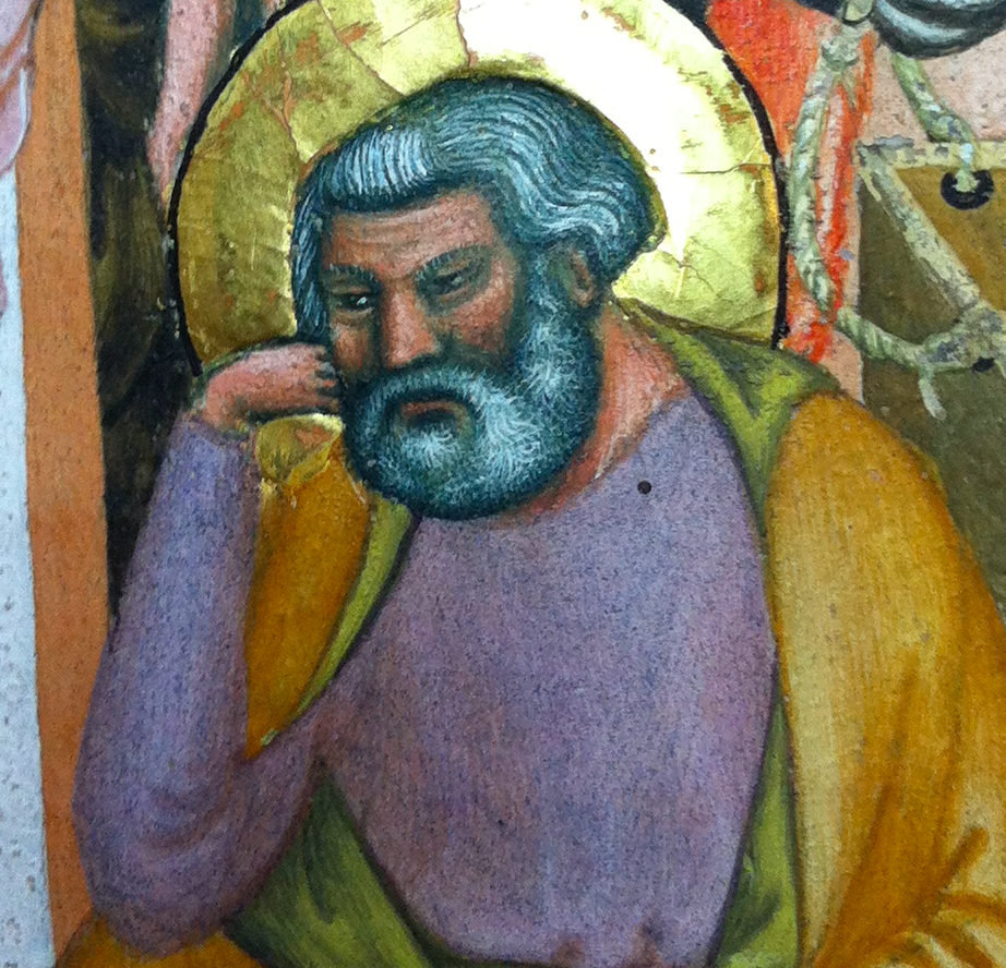 Initial H: The Nativity (detail), Master of the Antiphonary of San Giovanni Fuorcivitas, about 1335-40. Tempera colors and gold leaf on parchment, 52 x 37 cm (20 ½ x 14 9/16 in.). Impruneta, Museo del Tesoro di Santa Maria dell'Impruneta, Cod. VII, fol. 108.