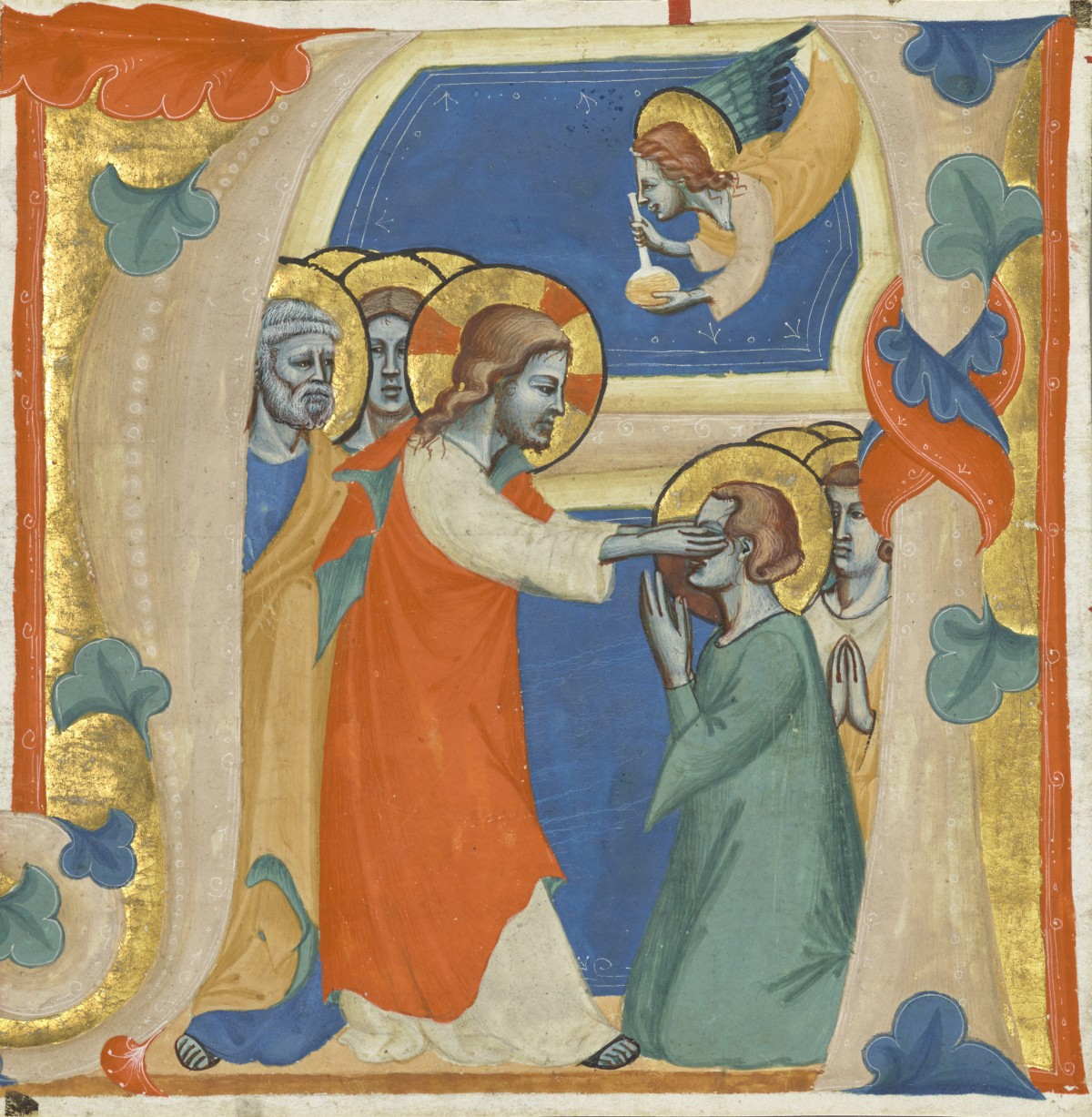 Initial A: Christ Wiping the Tears from the Eyes of the Saved, attributed to the Master of the Antiphonary of San Giovanni Fuorcivitas, about 1345–50. Tempera colors and gold leaf on parchment, 5 1/3 x 5 1/3 in (13.5 x 13.5 cm). The J. Paul Getty Museum, Ms. 113, recto