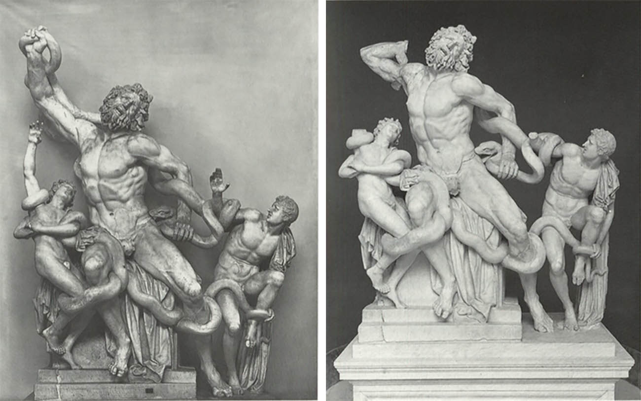 "Left: Restoration (or ""guess-toration""?) of upraised right arm. Right: Replacement of actual right arm found four centuries after the sculpture's unearthing in 1506."