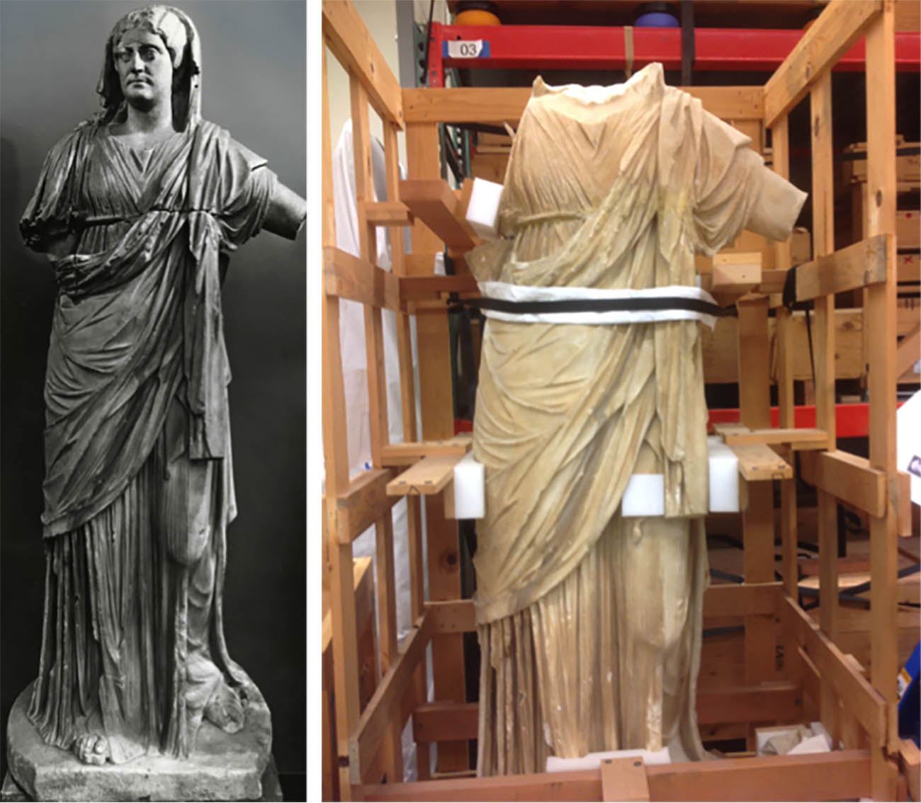 Left: Archival photograph still of the statue with its head. Right: Statue of Draped Female (early 3rd century, Roman. Marble, H: 75 3/16 in. The J. Paul Getty Museum, 72.AA.153) awaiting restoration.