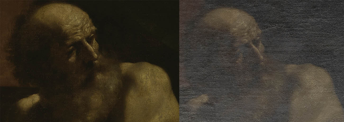 Detail of the head of Jacob as seen in normal light (left), and under specular light (right). In the image under specular light, we can see how much of Jacob's facial features are obscured by the varnish layers.