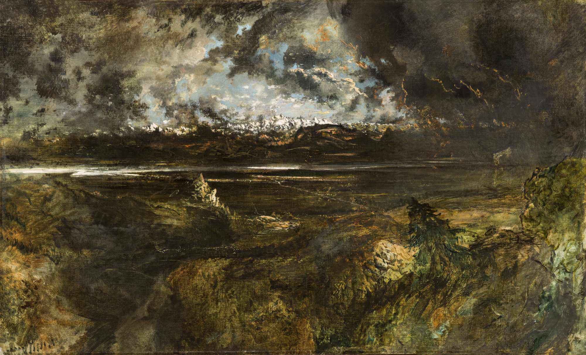 <em/>Mont Blanc Seen from La Faucille, Storm Effect, begun 1834, Théodore Rousseau. Oil on canvas