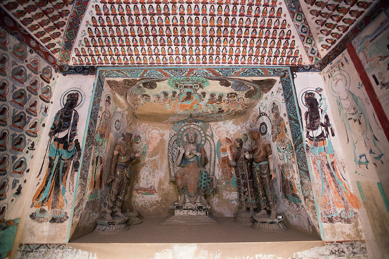 Inside Dunhuang replica Cave 320 at the Getty Center
