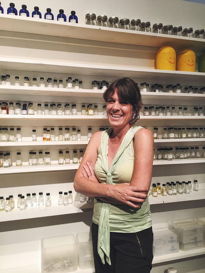 Saskia Wilson-Brown with scent vials