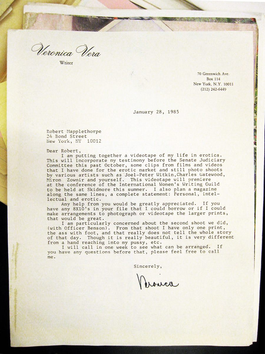 "Hand-typed letter on stationary reading ""Veronica Vera, writer"" at top left"