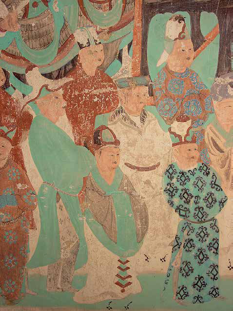 Detail of a wall painting from Cave 85 at Mogao depicting a scene from the Vimalakīrti Sutra