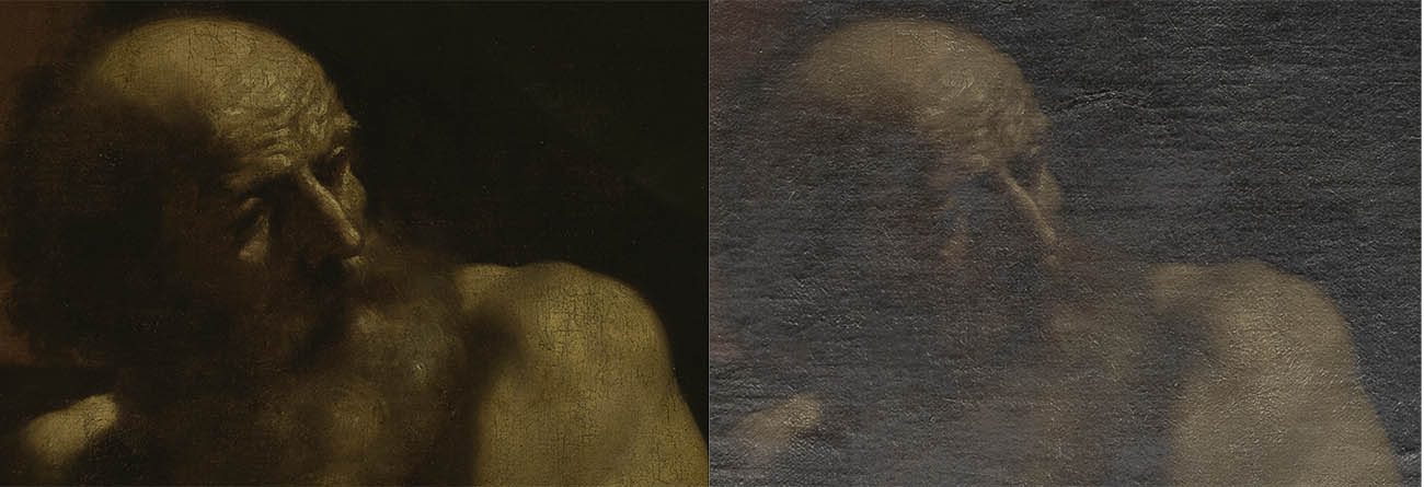 Two details of Jacob's head from Jacob Blessing the Sons of Joseph, c. 1620, Guercino. Presented by Sir Denis Mahon to the British Fund for the National Gallery of Ireland, 2008 NGI.4648. At left, the detail is seen in normal light, and at right under raking light.
